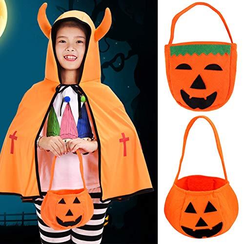 ROKOO Halloween Faltbare Kürbis-Jack-Laternen-Taschen-Süßigkeits-Geschenk-Korb-Festlichkeit oder Trick-Tasche