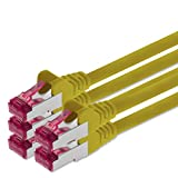 0,25m - gelb - 5 Stück - Netzwerkkabel CAT6a | S-FTP | CAT 6a | doppelt geschirmt - GHMT zertifiziert | PIMF | 500 MHz | 4x2xAWG26/7 Kupfer CU | Halogenfrei | kompatibel zu CAT 5e / CAT 6 / CAT7 | 10/100/1000/10000Mbit/s | für Switch, Router, Modem, Patchpannel, Access Point, Patchfelder