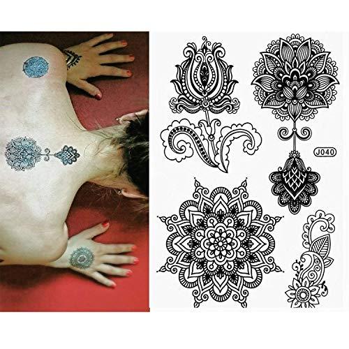 Pinkiou Tattoo Aufkleber schwarzer Spitze Mehndi Body Art Aufkleber temporäre Tätowierungen (6 Stück)