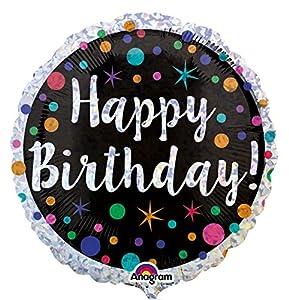 "Amscan International-3454901""lunares, feliz cumpleaños holográfica"" estándar Foil Balloon"
