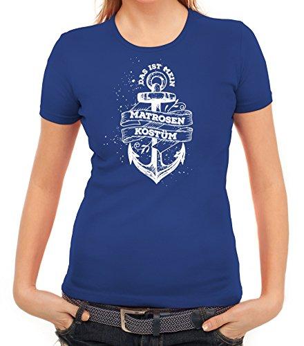 (ShirtStreet Fasching Karneval Damen T-Shirt mit Das ist Mein Matrosen Kostüm 1 Motiv, Größe: XXL,Royal Blau)