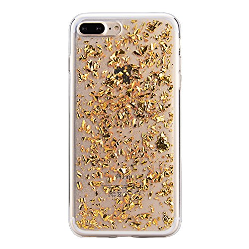 GrandEver Coque Silicone Doux Housse TPU pour iPhone 7 Plus, etui iPhone 7 Plus Transparente Clair Bling Paillette Sparkle Éclat Back Case Flexible Étui de Protection Arrière Protecteur Pare-chocs Sil d'or