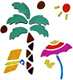 Unbekannt 26 tlg. Set Gel Sticker / Aufkleber / Wandtattoo / Fensterbild - Urlaub Palme Strand Meer Fenster Bad - wasserfest - selbstklebend Wandsticker Glassticker