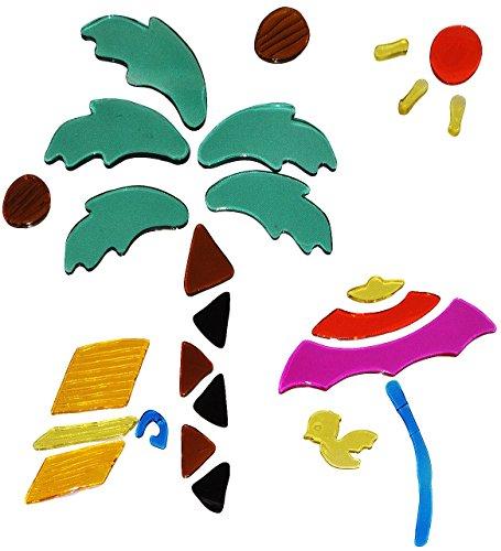 26 tlg. Set Gel Sticker / Aufkleber / Wandtattoo / Fensterbild - Urlaub Palme Strand Meer Fenster Bad - wasserfest - selbstklebend Wandsticker Glassticker (Fenster Aufkleber Palmen)