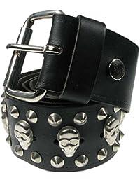 51mm Black Skull & Conical Gothic Biker Punk Studded Real Leather Handmade Jeans Wear Belt B396