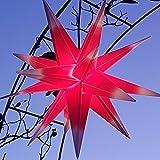Mit LED Außenstern 65 cm beleuchteter Stern Weihnachtsstern Faltstern (ROT MIT WEISSEN SPITZEN), Leuchtmittel LED (StaRt-NDL-DUH-E14-C3,5W)