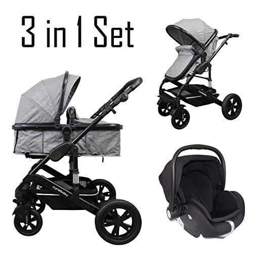 *Cynebaby California Luxe Kombi-Kinderwagen (grau melange mit Babyschale)*