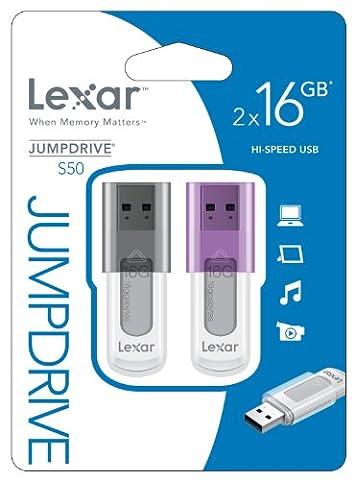 Lexar Jumpdrive S50 Pack de 2 Clés USB 2.0 16 Go - LJDS50-16GABEU2