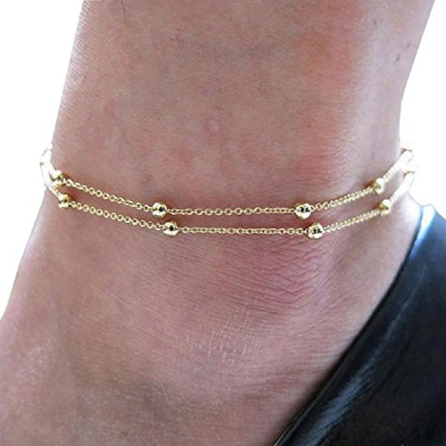 Fulltime(TM) Gold Double Women Foot Chain Anklet Ankle Bracelet Barefoot Beach Foot Jewelry