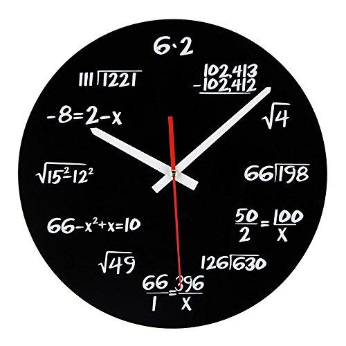 Timelike Math Horloge, Unique Horloge Murale Design Moderne Fantaisie mathématiques Équation Horloge – Chaque Heure Marquées par Un Simple Équation mathématiques, Noir, Noir