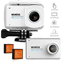 Action Camera, WIMIUS 4K Sports Camera 2.45inch LCD Touch Screen Underwater Cam 1080P 16MP 170 Ultra Wide-Angle Lens Helmet Camera with Accessories Kit White L3