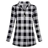 Hanomes Damen Shirt,Damen Mode Vintage Kariert Langarm T-Shirt Frühling Casual Langarm Pullover Lose Tops Knopf V-Ausschnitt Langarmshirt Bluse