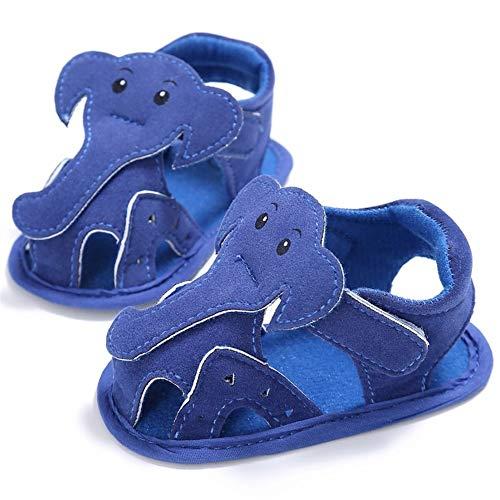 YI-WAN Verano bebé niño niña Sandalias Transpirable Tela Fresca Cinta mágica patrón de Color Puro Elefante natación Interior Zapatos de bebé Fondo Blando (Color : Blue, Size : 11cm)
