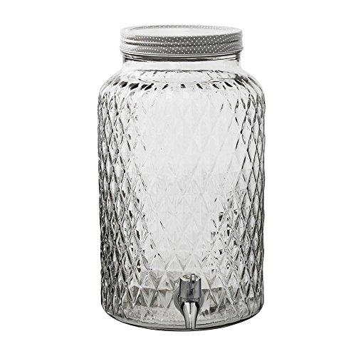 Bloomingville Getränke Dispenser Saftspender Getränkespender Wasserspender aus Glas im Landhaus Stil inkl. Zapfhahn und großem Schraubdeckel mit einer Füllmenge von 6L, Deckel aus Glas, perfekt für Ihre Bowle -