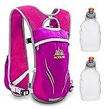 Geila Mochila de Hidratación, para Deportes al Aire Libre, Senderismo, Correr, Carreras, Chaleco Ligero de Hidratación con 2 Botellas de Agua, Rose Red + 2 Water Bottle