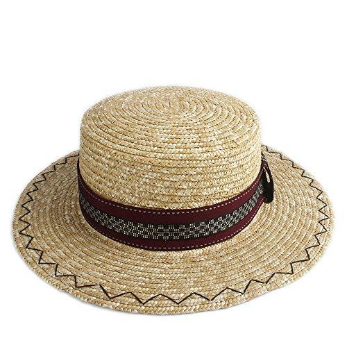 S.Y.MMSY Frauen Hut Schöne Göttin Sonnenhut schälen anmutigen Hut Kuppel Hut Strand Sonnenhut Damen rot schwarz Karierten Stoff Dekoration (Farbe : 1, Größe : 56-58CM)