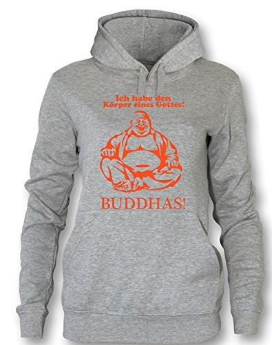 Ich habe den Körper eines Gottes! Buddhas! - Damen Hoodie Grau / Orange