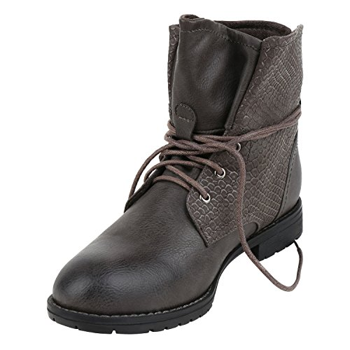 3bba63561e8e Stiefelparadies Damen Schuhe Desert Boots Schnürschuhe Camouflage  Stiefeletten Leder-Optik Blockabsatz Booties Muster Flandell Dunkelgrau ...