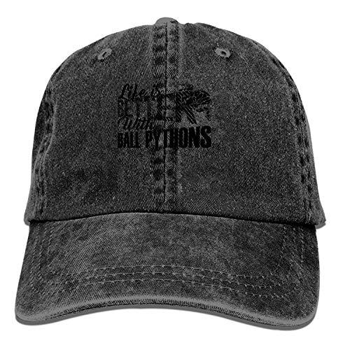 Nigmfgvnr Black Baseball Cap-Life is Better with Ball Pythons Trucker Hat Washed Cotton Vintage Adjustable Dad Hat -