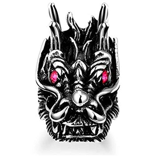 Aeici Silber Schwarz Ringe für Herren Modestil Drachen Head Kristall DaumenRingee Größe 60 (19.1) (Frau Kostüm Drache)