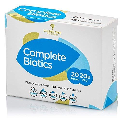Complete Biotics | 20 Milliarden probiotischer Kulturen | 20 einzigartige probiotische Bakterienstämme | Vollkommene probiotische und präbiotische Formel | 30 Kapseln |