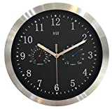 HITO™ 30cm Silent Nicht-tickende Metallrahmen Wanduhr w / Bunte Numrals und Frontglas-Abdeckung (T&H-black)