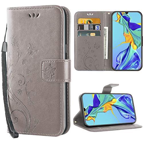 P30 hülle,Solide Butterfly PU Ledercase Tasche Schutzhülle Huawei P30 flip case Magnetverschluss Handyhülle im Wallet - Grau -