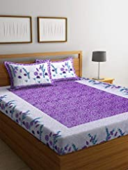 Boutique Bedding Queen Size 100 Cotton 250TC Bedsheet with 2 Pillow Covers (White and Purple, 235x225 cm)