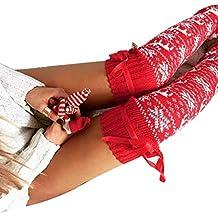 Bobury Bowknot Mujeres de Punto Toeless Chica Reno de Navidad hasta el Muslo de Las Polainas