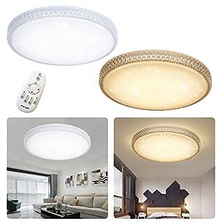 SAILUN 36W LED Ultra-dünne Moderne Deckenleuchte Deckenlampe Dimmbar Rund Sternenlicht Deckenleuchte Schalter steuerung für Flur Wohnzimmer Schlafzimmer Küche Büro (36W Rund Dimmbar)
