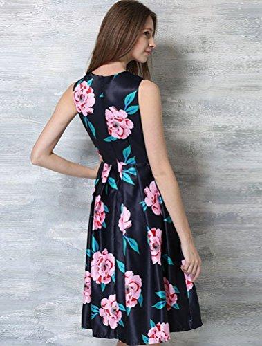 MatchLife Femme Nouveau Sans Manches Fête Floral Cocktail Robe Coloré 2