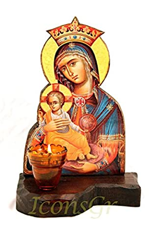 Wooden Greek Christian Orthodox Wood Icon of Mother of Jesus