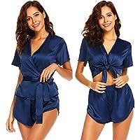 Avidlove Pijama Satén Mujer Sexy Kimono con Cinturón Elegante Corto Lenceria Seda,Suave,Cómodo,Sedoso y Agradable