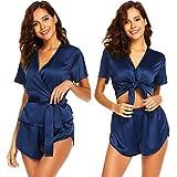 Scallop Women Sexy Lingerie 2 pezzi Camisole Set maniche corte pigiama