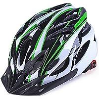 Casco de bicicleta ajustable para adulto, con 18 ranuras y estilo de panal, verde