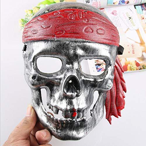 YP Piraten Schädel Maske Halloween Horror Plastik Gesichtsmaske Für Erwachsene Cosplay Kostüm-Accessoire Halloween Karneval Party Dekoration,White