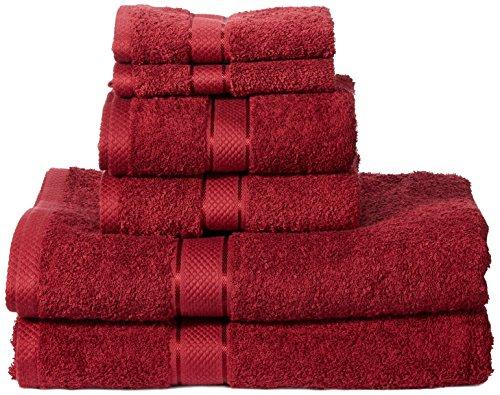 AmazonBasics Set di 2 asciugamani da bagno2 asciugamani per le mani e 2 asciguamani da bidet che non sbiadiscono colore Rosso