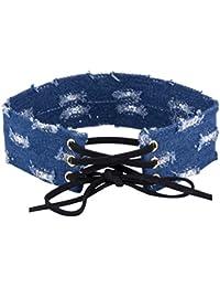 Shimmer Divine Exclusive Limited Edition Rough Design Denim Blue Stunning Choker Necklace For Women/Girls
