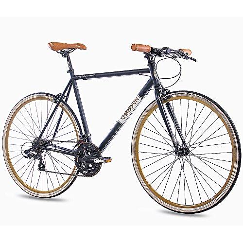 "CHRISSON 28\"" Zoll URBAN RENNRAD Fahrrad Vintage Road 3.0 mit 21G Shimano A070 Retro Look 56cm schwarz matt"