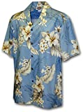 Image of Pacific Legend | Original Hawaiihemd | Herren | S - 4XL | Kurzarm | Front-Tasche | Hawaii-Print | Enzian Blumen Palmenblätter | Hellblau