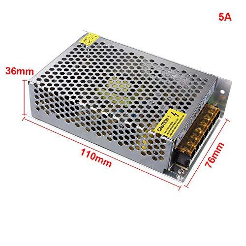 PerGrate Adaptador de Transferencia de perg AC110V de 220V a DC 12V Interruptor Controlador de Fuente para Tiras de LED de luz, 5a, 110mmx76mmx36mm