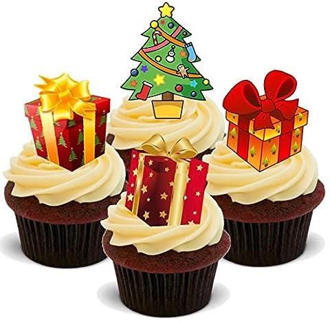 Weihnachten Weihnachtsbaum Geschenke Mix - 12 essbare Standup Kuchen-Deko, Kuchendekorationen,
