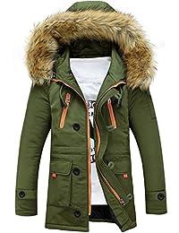 Brinny Winter Baumwolle Herren Wintermantel mit Pelzkragen Kapuzenjacke  Outdoorjacke Winterjacke… a956450528