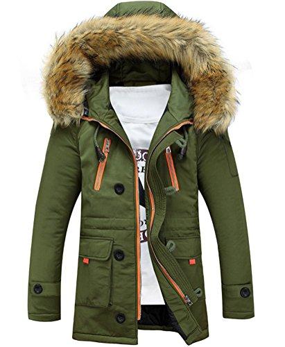Brinny Herren Jacke Kapuze Winterjacke Winter Mantel Jacket Warm Parka Westen Hoodie Pelzkragen Grün