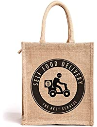Nisol Self Food Delivery Classic Printed Lunch Bag | Tote | Hand Bag | Travel Bag | Gift Bag | Jute Bag