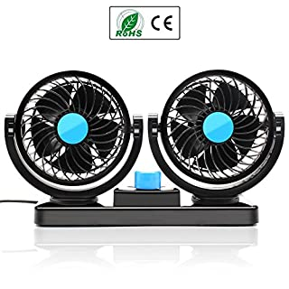 Almondcy Dual Head Car fan 12V Car Fan 360 Degree Rotation 2 Speed Adjustable Strong Wind Auto Cooling Air Fan