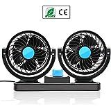 almondcy doble cabeza coche ventilador 12V coche ventilador 360Degree rotación 2velocidad ajustable fuerte viento auto aire de refrigeración ventilador