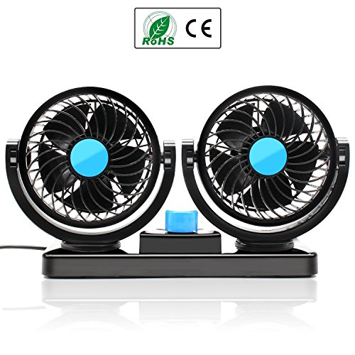 almondcy doble cabeza coche ventilador 12V coche ventilador 360Degree rotación 2velocidad ajustable...