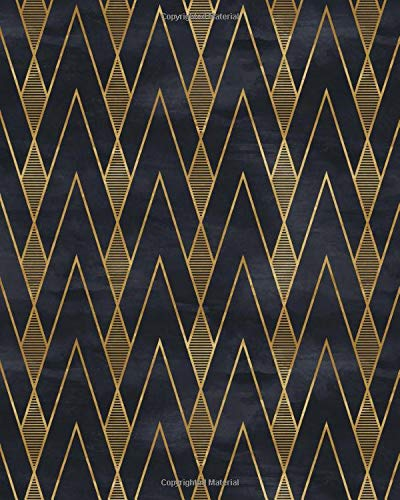 Elegant Gold - Black Paper Notebook: Vintage Art Deco | Black Page White Lines | Perfect for Gel Pens and Vivid Color Glitter Ink | 8x10 120 pgs Wide Ruled Reverse Lined Paper Journal