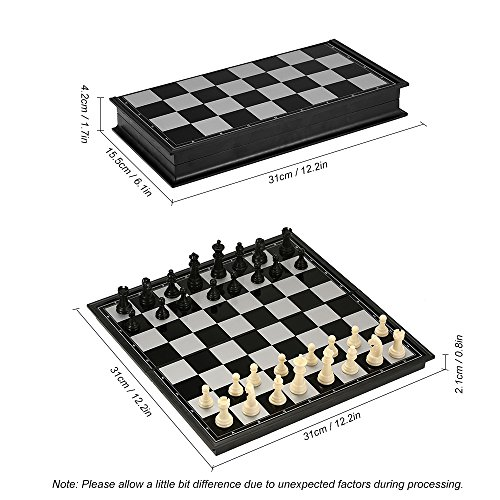Hykis Kunststoff-Schach-Set International Chess Entertainment Brettspiel Magnetic Chess Set Folding p?dagogisches Spielzeug f¨¹r Kinder-Party [L]